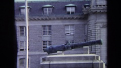 1970: close up of cannon at old building ANNAPOLIS Stock Footage
