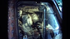 1970: public display of a nasa manned space capsule with viewing window Stock Footage