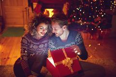 Magic Christmas present Stock Photos
