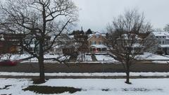 Upstate New York suburbs - Aerial - winter - 4k Stock Footage