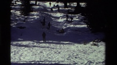 1981: group sledding down snowy hillside dotted with trees CALIFORNIA Stock Footage