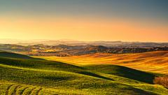 Tuscany countryside misty panorama, rolling hills and green fields on sunse.. Stock Photos