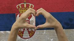 Hands Heart Symbol Serbia Flag Stock Photos