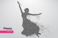 Silhouette of a dancing girl from triangle. Dancer woman Stock Illustration