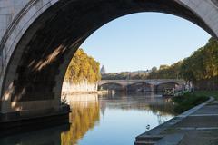 View of Tiber River and bridge Ponte Umberto I Stock Photos