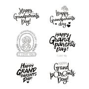 Set quotes about happy grandparents day! Stock Illustration