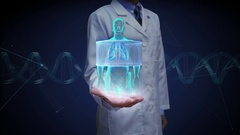 Doctor open palm, Scanning body. Rotating Human lungs, Pulmonary Diagnostics. Stock Footage