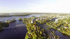 Cityscape of the town of Savonlinna with a medieval castle Stock Footage