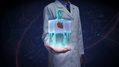 Doctor open palm, front body and scanning heart. cardiovascular system. Stock Footage