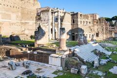 Ruins of Forum of Augustus in Rome Stock Photos