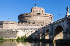 Castle of Holy Angel and St Angel bridge in Rome Stock Photos