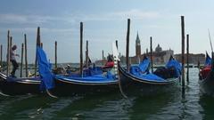 Summer day venice city san marco bay gondola parking panorama 4k italy Stock Footage