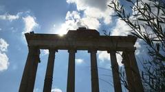 Rome summer day blue sky roman forum temple of saturn panorama 4k  italy Stock Footage