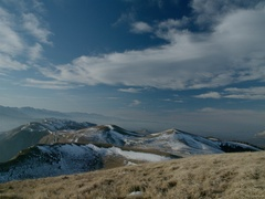 Snowy peaks with sky and clouds (panoramic view) Stock Footage