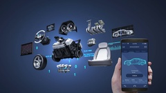 Car diagnosis , management application using mobile, Vehicle parts, future car. Stock Footage