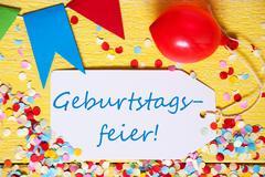 Party Label, Red Balloon, Geburtstagsfeier Means Birthday Celebration Kuvituskuvat