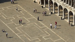 Venice san marco square campanile view point crowded panorama 4k  italy Stock Footage