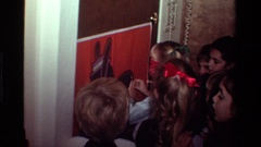 1981: children sticking something on the image CALIFORNIA Stock Footage