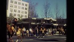 1981: man rides through parade on back of horse. CALIFORNIA Stock Footage