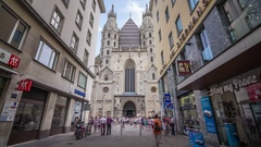 Vienna St. Stephen's Cathedral Hyperlapse Stock Footage