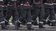 4K Fireman formation march paramedic people in rescue mission teamwork exercise Stock Footage
