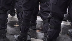 4K Closeup police man boot rows in conflict special forces uniform practice day Stock Footage