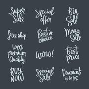 Set of calligraphy on the theme of sale Stock Illustration