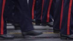4K Student officer unit walk cadence practice specific profession cadet brigade Stock Footage