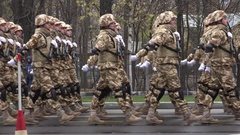 4K Soldier troop alignment walk in rows officer unit teamwork at national parade Stock Footage