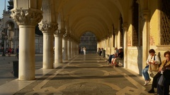 Venice sunset light san marko bay ducale palace walking panorama 4k italy Stock Footage