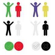 Icons with symbol of person expressing joy and sadness, acceptance and deni.. Stock Illustration