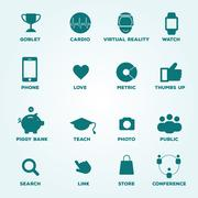Set of icons goblet, cardio, virtual reality, watch, phone, love, metric, t.. Stock Illustration