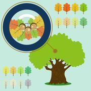 Infographic of old oak, acorn under the loupe. Stock Illustration