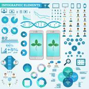 Infographic elements, doctor and patient icons, diagrams. Digital marketing.. Stock Illustration