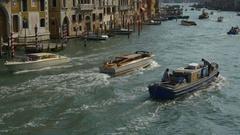 Grand canal santa maria della salute basilica traffic panorama 4k venice italy Stock Footage
