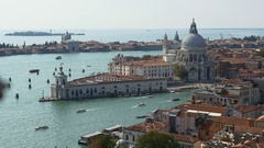 Summer venice santa maria della salute basilica campanile panorama 4k italy Stock Footage