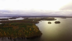 Islands with yellow-leaved trees in autumn Stock Footage