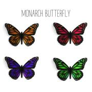Set of realistic monarch butterflies in different colors. Stock Illustration