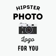 Hipster logotype with old camera for studio or photographer. Stock Illustration