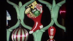 1981: various items hung on a fence like structure CALIFORNIA Stock Footage