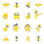 Bee and honey icon set. Stock Illustration