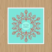 Vector vintage greeting card with outline frame Stock Illustration