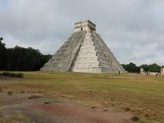 Chichen Itza El Castillo pyramid couple fast motion DCI 4K Stock Footage