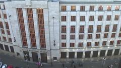 PRAGUE, CZECH REPUBLIC - DECEMBER 3, 2016. Czech National Bank office building Stock Footage