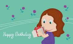 Card with little girl with a gift in their hands Stock Illustration