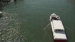 Venice sunny day grand canal water traffic rialto bridge panorama 4k italy Stock Footage