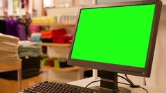 Green billboard for your ad on computer screen inside Sears store Stock Footage