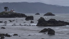 Time Lapse of Rocky Shore / Light House / Crashing Waves in Crescent City CA Stock Footage