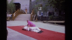 1984: a man does slow movements in a yoga format, vintage clip Stock Footage
