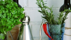 Kitchen interior with italian herbs for cooking - rosemary, thyme, basil Stock Footage